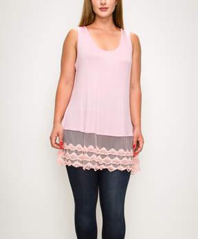 Bellino Pink Lace-Hem Tank - Plus