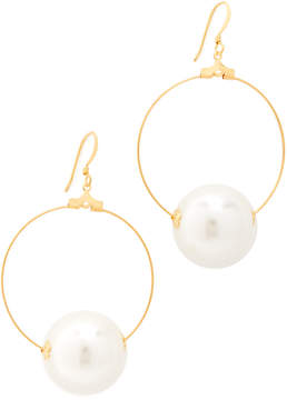 Kenneth Jay Lane Hoop Earrings with Imitation Pearl