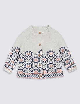 Marks and Spencer Cotton Rich Long Sleeve Cardigan