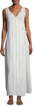 Onia Grace Sleeveless Striped Cotton Wrap Maxi Dress