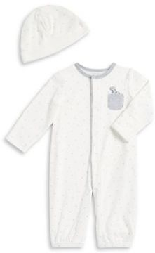 Little Me Baby Boy's Dino Embroidered Coverall and Hat Set