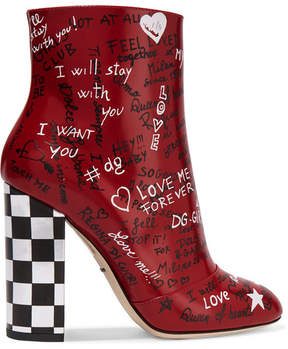 Dolce & Gabbana Printed Leather Ankle Boots - Red