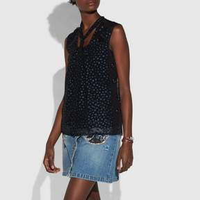 COACH COACH STAR PRINT SLEEVELESS TIE NECK BLOUSE - NAVY