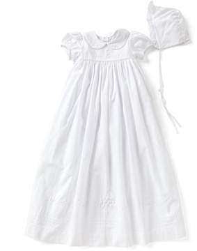 Edgehill Collection Baby Girls Newborn-12 Months Peter Pan Collar Christening Gown & Matching Bonnet Set