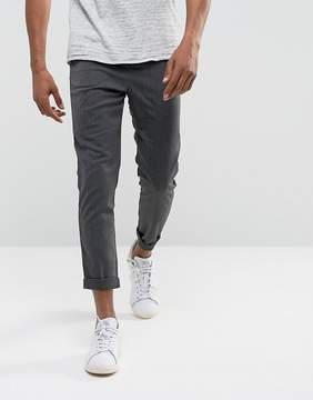 Solid Tapered Pants In Gray