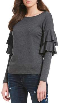 CeCe Long Sleeved Tiered Ruffle Top