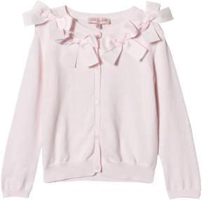Lili Gaufrette Pink Bow Detail Cardigan