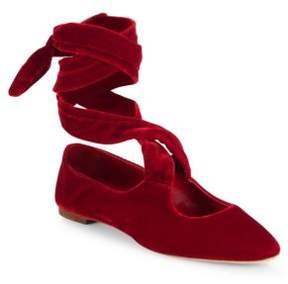 The Row Elodie Velvet Ankle-Wrap Ballet Flats