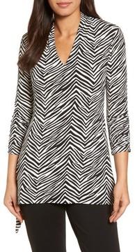 Chaus Women's Zebra Print Ruched Top