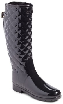Hunter Women's Refined High Gloss Quilted Rain Boot