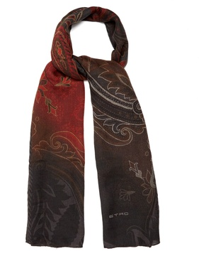 Etro Paisley-jacquard wool and silk-blend scarf