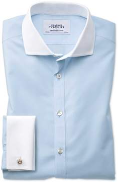 Charles Tyrwhitt Slim Fit Spread Collar Non-Iron Winchester Sky Blue Cotton Dress Shirt Single Cuff Size 15/33