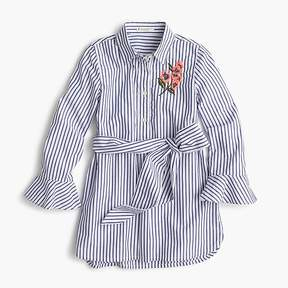 J.Crew Girls' striped flower-embroidered tunic