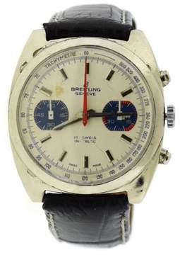 Breitling 17J Incabloc Stainless Steel & Leather Manual Vintage 37mm Mens Watch