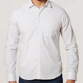 Blade + Blue White & Blue Geometric Floral Print Shirt - Pete