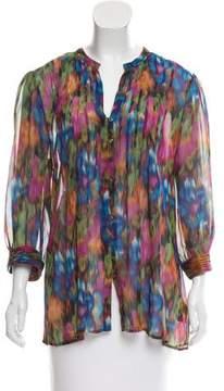 Cynthia Steffe Tie-Dye Print Button-Up Top