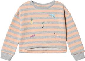 Molo Grey And Orange Tropical Stripe Marci Sweatshirt