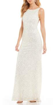 B. Darlin Sequin-Embellished Long Lace Dress