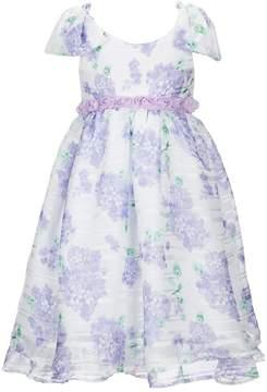 Laura Ashley London Little Girls 2T-6X Shadow-Striped Floral Dress