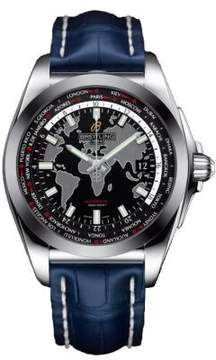 Breitling Galactic Unitime Black Dial Blue Leather Automatic Men's watch WB3510U4-BD94BLCT