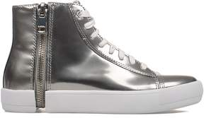 Diesel Silver Nentish Brushed Leather High-top Sneakers