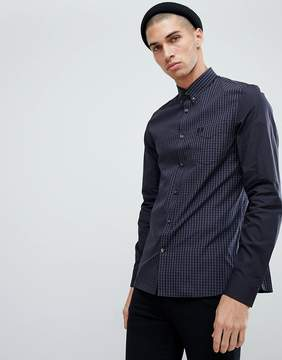 Fred Perry Tonal Gingham Shirt In Black