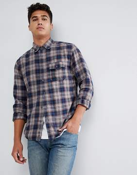 Benetton Flannel Shirt In Navy Check
