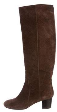 Lanvin Embossed Suede Knee-High Boots