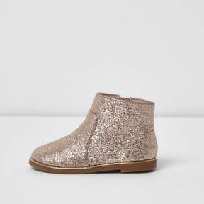 River Island Mini girls pink glitter ankle boots