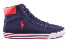 Ralph Lauren Men's Blue Canvas Hi Top Sneakers.