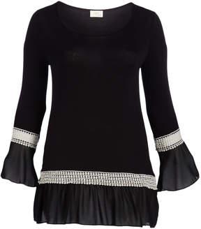 Celeste Black Lace Ruffle-Hem Scoop Neck Tunic - Plus