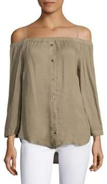 Bella Dahl Off-the-Shoulder Button-Down Blouse