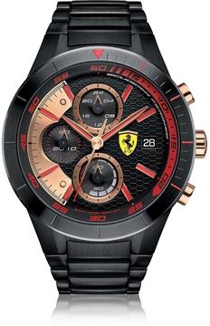 Ferrari Red Rev Evo Black Stainless Steel Men's Chrono Watch