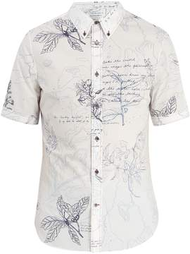Alexander McQueen Leaf-print short-sleeved cotton shirt