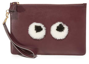 Anya Hindmarch Shearling Eyes Wristlet