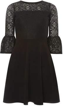 Dorothy Perkins Black Lace Flute Sleeve Skater Dress