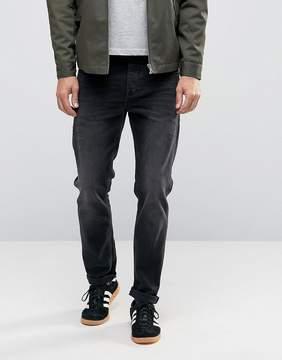 Asos Stretch Slim Jeans In 12.5oz In Washed Black
