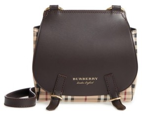 Burberry Bridle Leather & Check Shoulder Bag - Brown - BROWN - STYLE