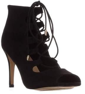 Thalia Sodi Ts35 Luana Lace Up Peep Toe Sandals, Black.