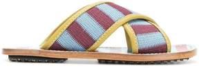Marni striped crossover sandals