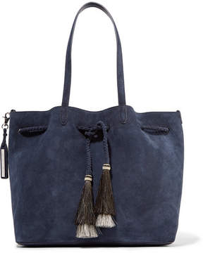 Loeffler Randall Horse Hair-trimmed Suede Tote - Midnight blue