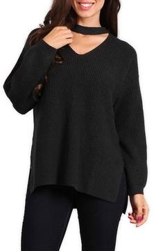 Blvd Long Sleeve Choker Asymmetrical Sweater