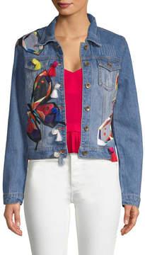Bagatelle Women's Patch Embroidery Denim Jacket