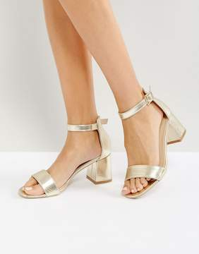 Glamorous Gold Block Mid Heeled Sandals