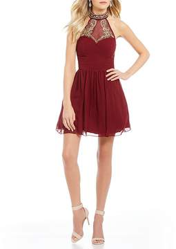 B. Darlin Beaded Yoke Fit-And-Flare Dress