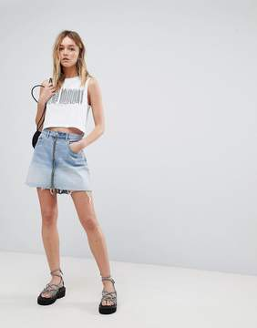 Cheap Monday Denim Mini Skirt with Exposed Zip