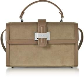 Rodo Taupe Suede and Leather Lunch Bag
