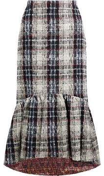 Stella Jean Fluted Checked Bouclé-Tweed Skirt