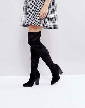 London Rebel Velvet Block Point Toe Over Knee Boot