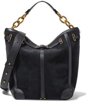 Jérôme Dreyfuss - Tanguy Textured Leather-trimmed Suede Shoulder Bag - Black